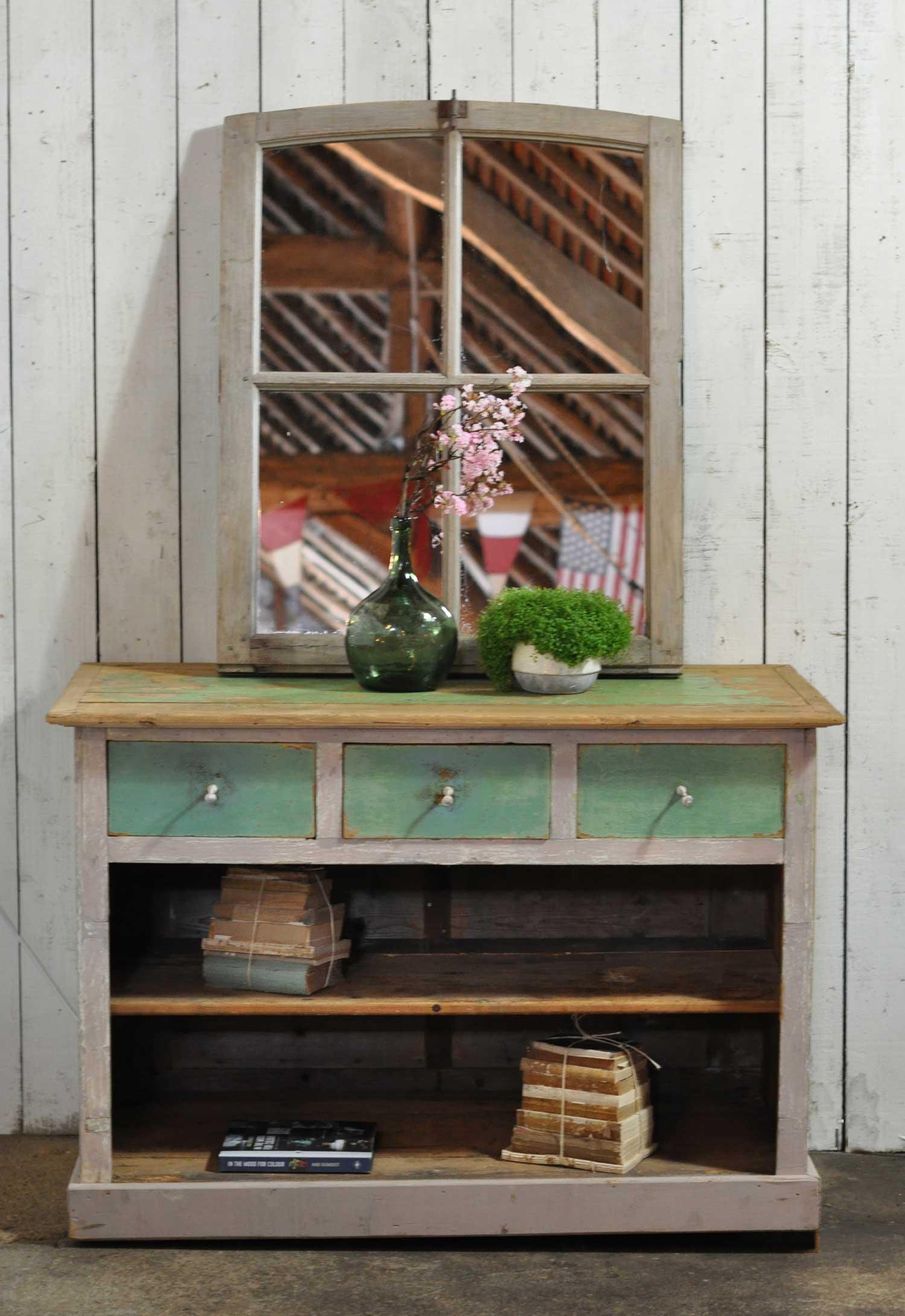 Antique Pine Shop Counter With Original Aqua Paintwork