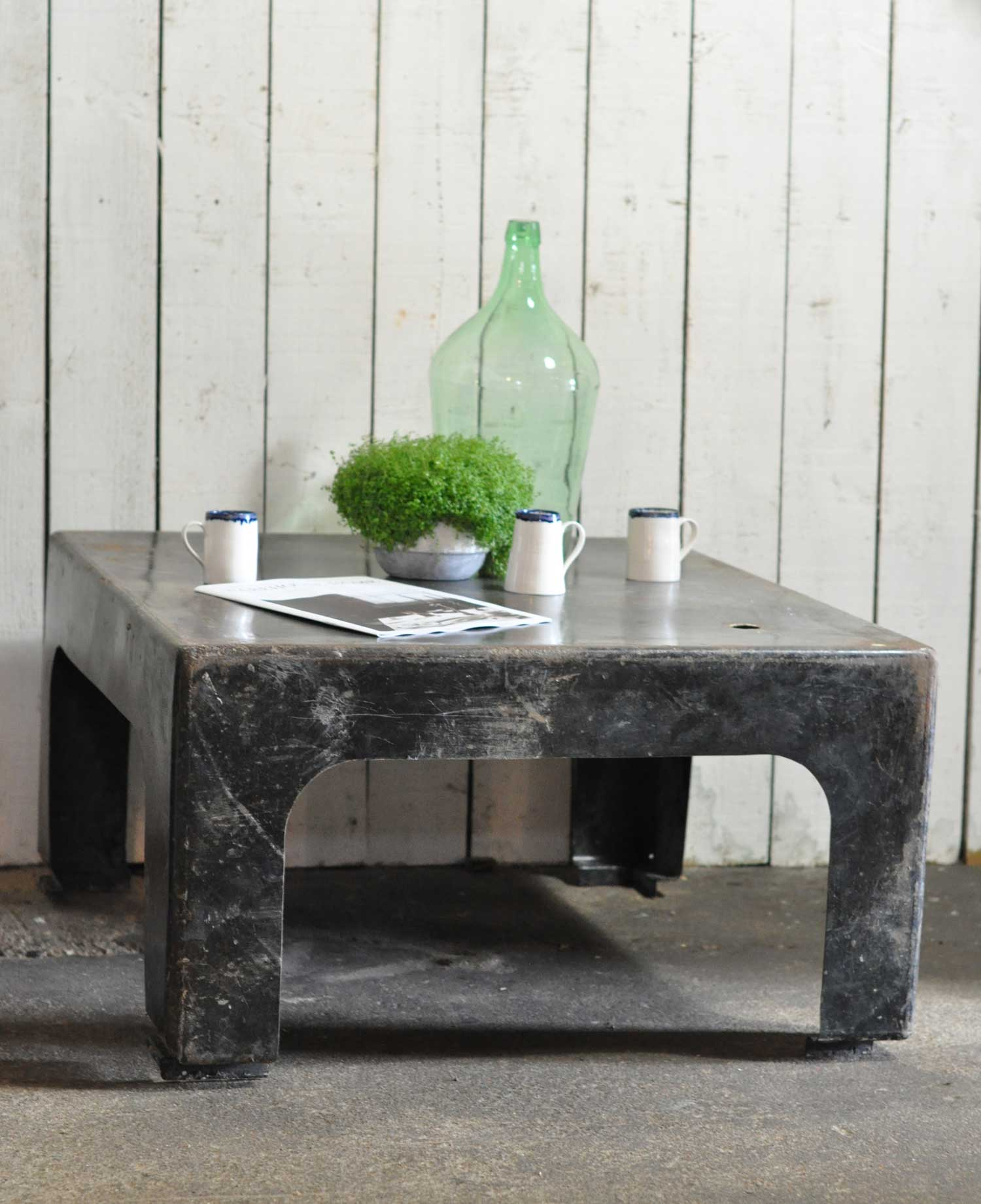 Industrial Galvanised Steel Chamber Coffee Table Vintage
