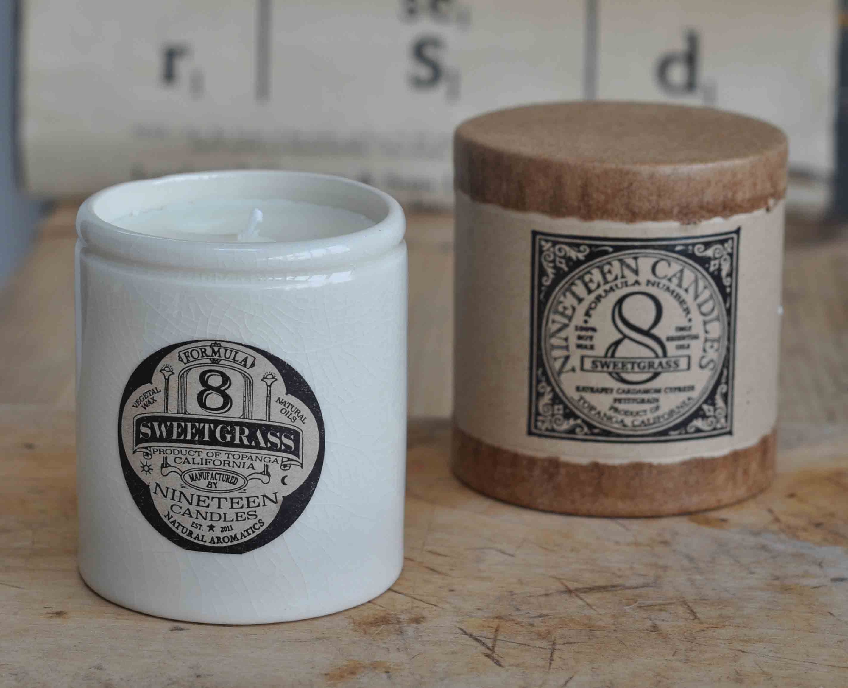 Handmade Nineteen Candle No 8 Sweetgrass
