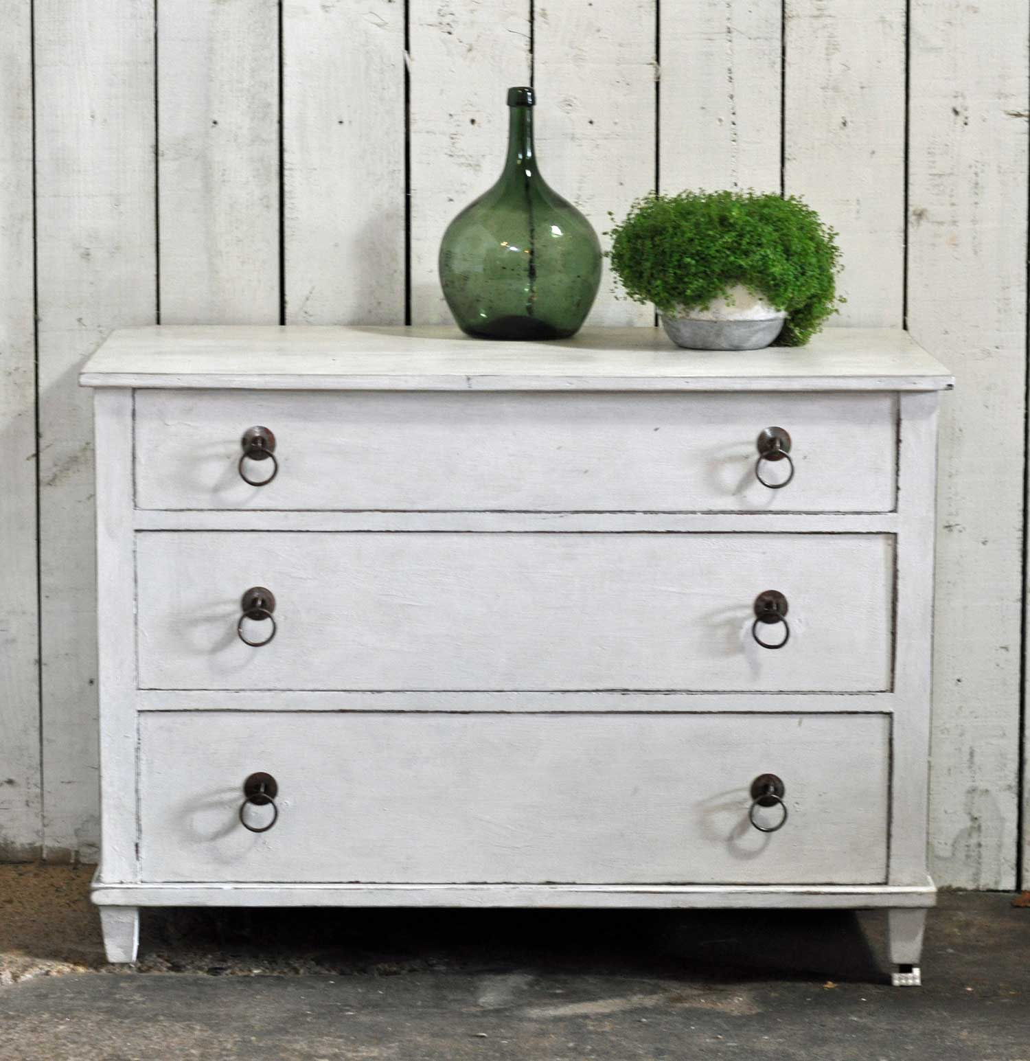 Vintage Chest Of Three Drawers Hand Painted in Antique White