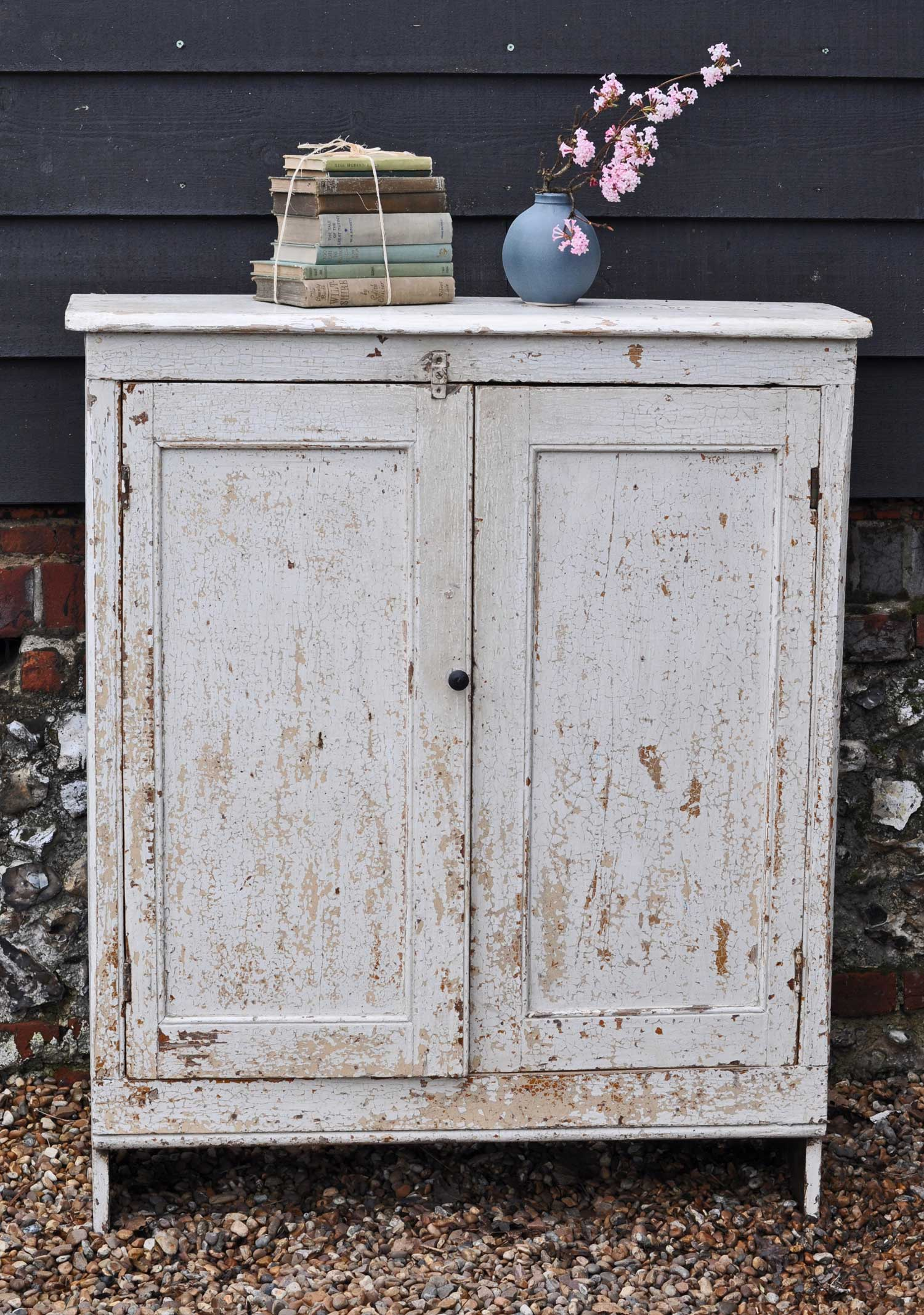 Antique Two Door Cupboard Slim & Tall With Original Paintwork