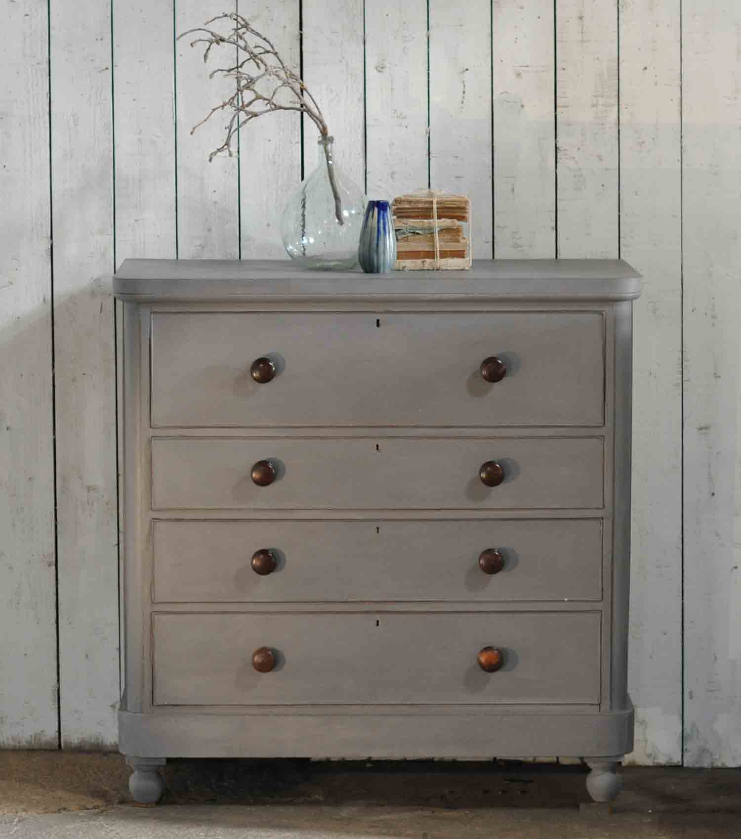 Large Antique Painted Victorian Chest Of Drawers Linen