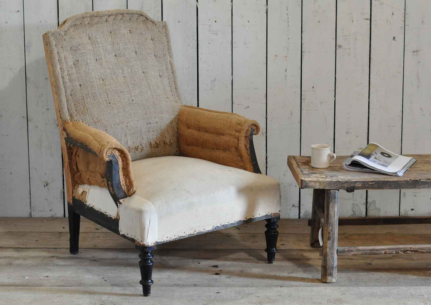 Antique Deconstructed Square French Fireside Chair Hessian