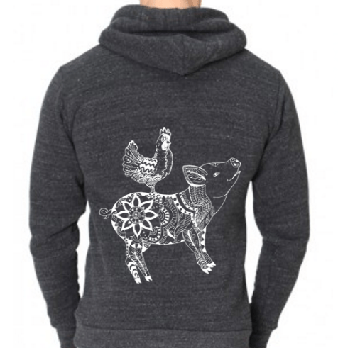 Eat Peace – Vegan Pig & Chicken Hoodie