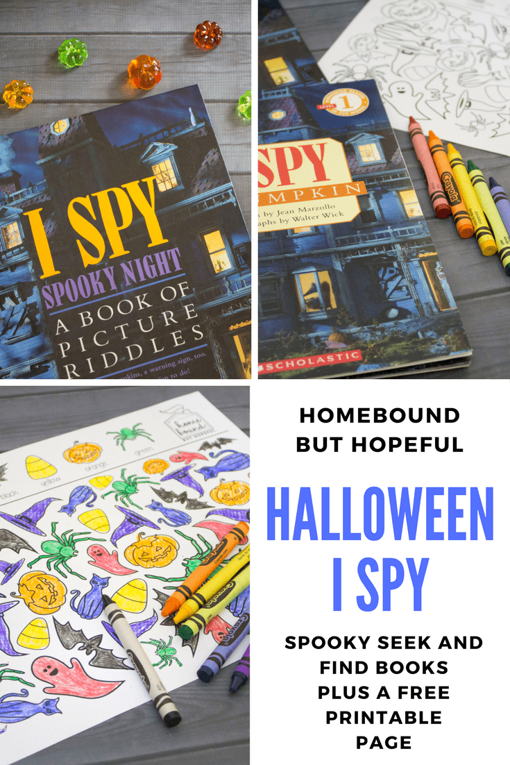 Have your kiddos test their seek and find skills with these fun and festive Halloween I Spy books. Then print out your own Halloween hunt and let the fun continue! #Halloween #Halloweenprintable #Halloweenactivities #HalloweenISpy #HalloweenSeekAndFind #SeekAndFind #ISpy