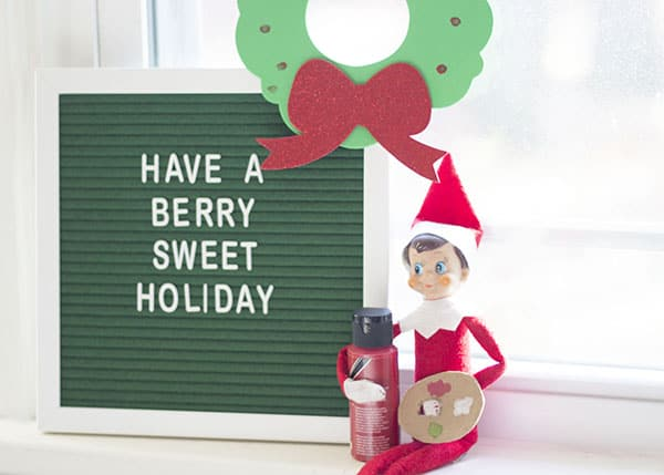New Elf On The Shelf Ideas- Berry Sweet Wreath