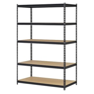 "Edsal URWM184872BK Black Steel Storage Rack, 5 Adjustable Shelves, 4000 lb. Capacity, 72"" Height x 48"" Width x 18"" Depth"