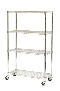 Seville Classics 4 Shelf, 14-Inch by 36-Inch by 54-Inch Shelving System with Wheels, NSF