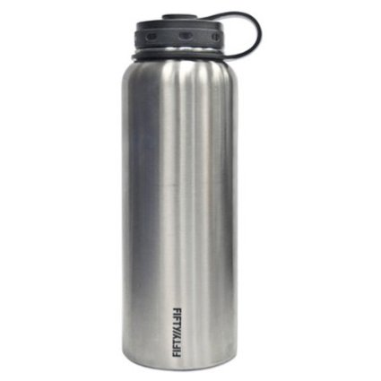 Lifeline 7502 Silver Stainless Steel Wide Mouth Water Bottle - 40 oz. Capacity