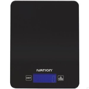 Ivation Lightweight Digital Kitchen, Food, Postal or Jewelry Scale w/All-Glass Weighing Surface - Ounce, Milliliter & Gram Weight Units - Features 11 Pounds Capacity & One-Button Tare Setting