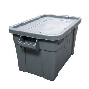 Rubbermaid Commercial FG9S3100GRAY Brute Tote with Lid, 20-Gallon Capacity, Gray