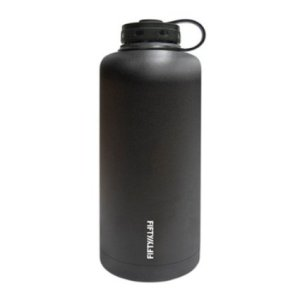 Lifeline 7508BK Black Stainless Steel Vacuum Insulated Double Wall Barrel Style Growler - 64 oz. Capacity