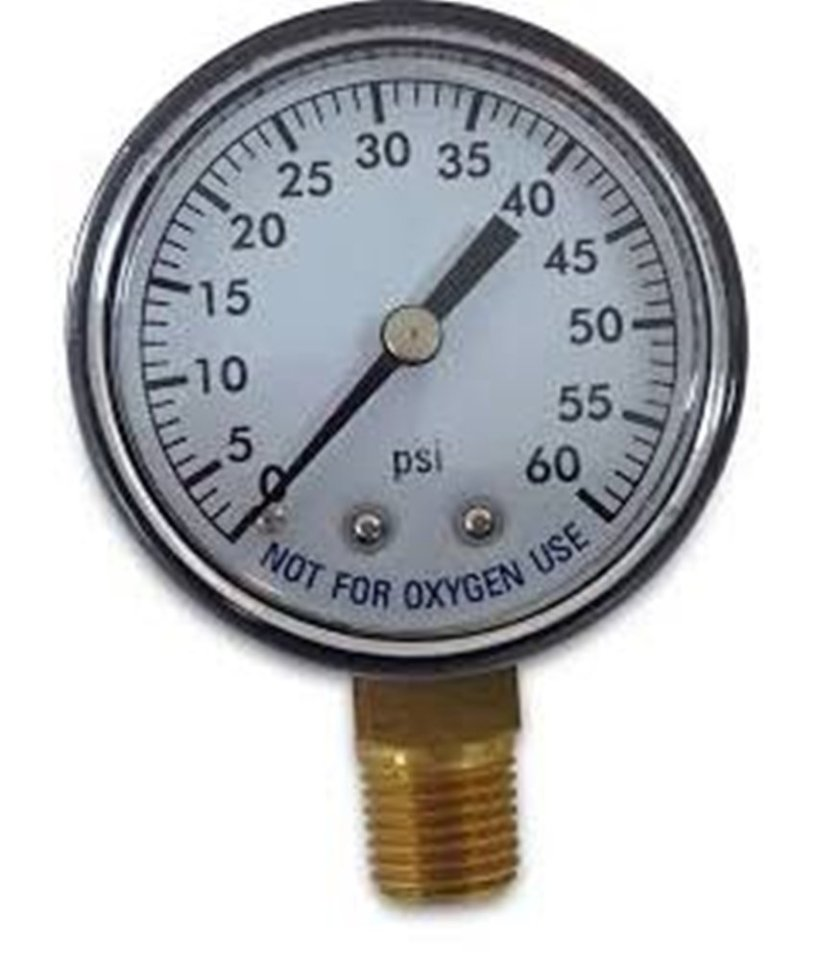 "Pool Spa Filter Water Pressure Gauge 0-60 PSI Bottom Mount 1/4"" Inch Pipe Thread"