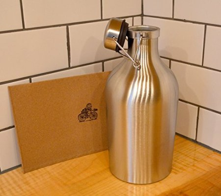 K&B Stainless Steel Beer Growler - 64 oz