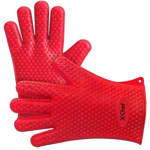 Oven Mitts Gloves, Heat Resistant Silicone Gloves BBQ Grilling Gloves for Cooking Baking Barbecue Potholder