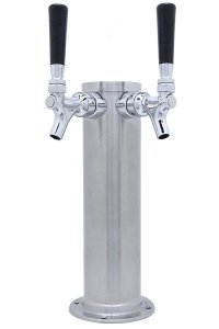"Kegco BF D4743DT-BRUSH Draft Beer Tower Brushed Dual Faucet, 3"" Column, Stainless Steel"