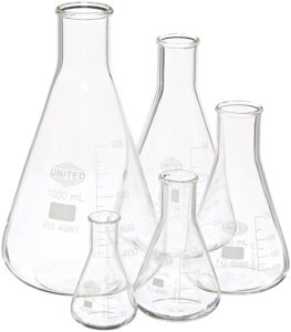 United Scientific FGSET5 Borosilicate Glass Erlenmeyer Flasks Set, Set of 5 Flasks