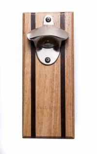 Bruntmor, CAPMAGS Strong Magnetic w/Zinc Alloy Beer Opener & Cap Catcher - Rubberwood Hand Painted
