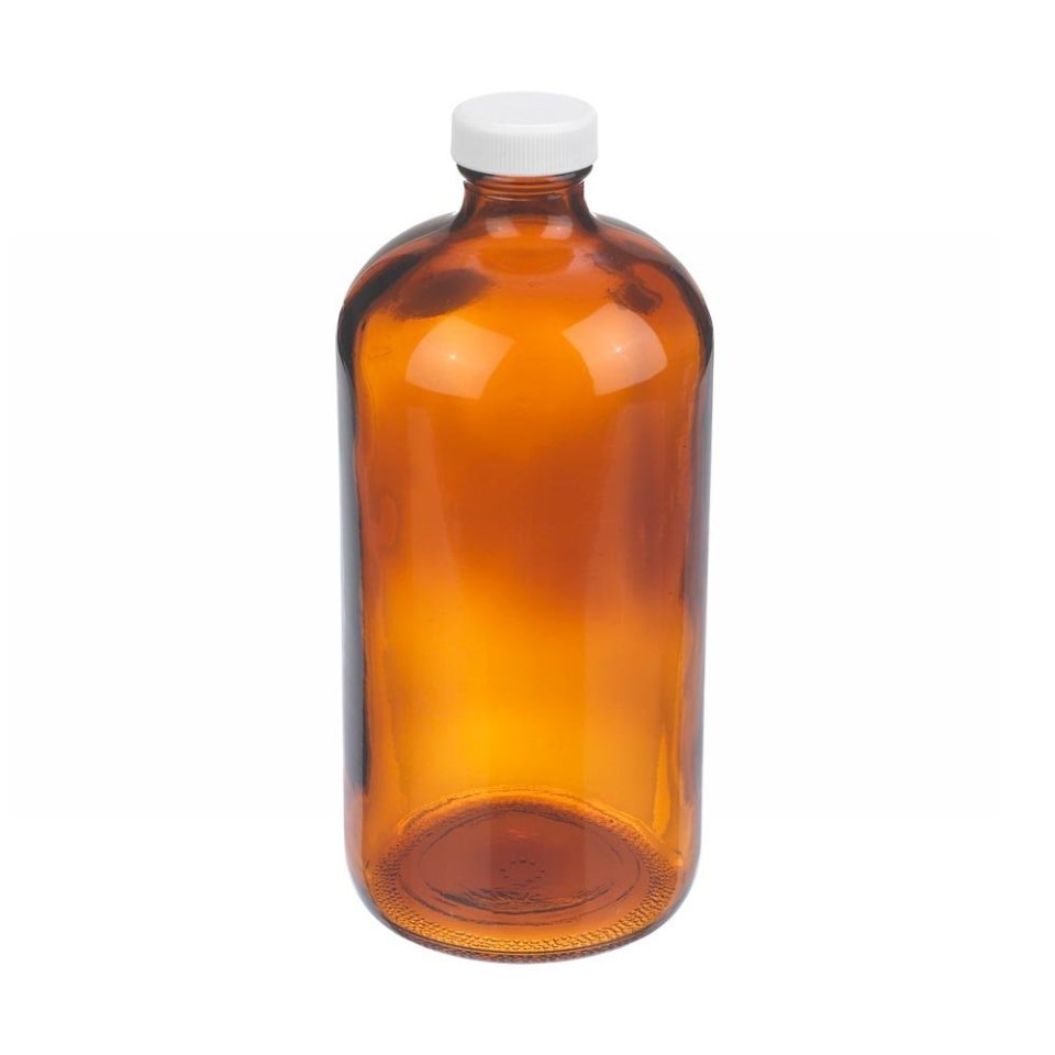 Wheaton W216847 Boston Round Bottle, Amber Glass, Capacity 32oz With 33-400 White Polypropylene PTFE Faced Foamed Polyethylene Lined Screw Cap, Diameter 94mm x 206mm (Case Of 12)