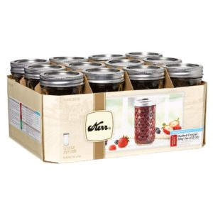 KERR® QUILTED CRYSTAL® REGULAR MOUTH 12 OZ. GLASS MASON JARS WITH LIDS AND BANDS, 12 COUNT