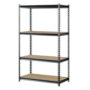 "Muscle Rack UR361860PB4P-SV Silver Vein Steel Storage Rack, 4 Adjustable Shelves, 3200 lb. Capacity, 60"" Height x 36"" Width x 18"" Depth"