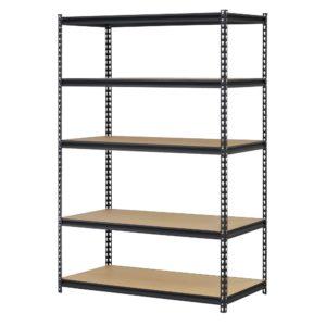 "EDSAL Black Steel Storage Rack, 5 Adjustable Shelves, 4000 lb. Capacity, 72"" Height x 48"" Width x 18"" Depth"