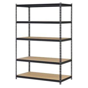 "EDSAL Black Steel Storage Rack, 5 Adjustable Shelves, 4000 lb. Capacity, 72"" Height x 48"" Width x 18"" Depth"