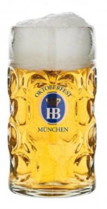 "1 Liter HB "" Hofbrauhaus Oktoberfest Edition"" Dimpled Glass Beer Stein"