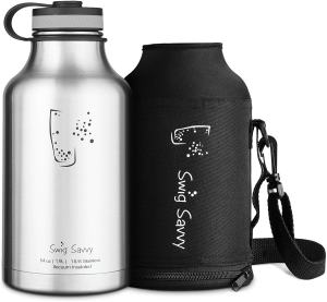 SWIG SAVVY Stainless Steel Water Bottle - Vacuum Insulated & Wide Mouth Design - Reusable Sweat Proof Thermos Flask for Hot & Cold Drinks with Coffee Lid & Carrying Sleeve Pouch 64 oz