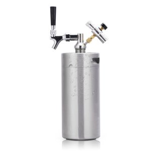 HAVEGET 128 Ounce Mini Beer Keg Pressurized Growler for Craft Beer Dispenser System CO2 Adjustable Draft Beer Faucet with Perfect Pour Regulator