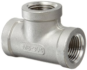"Stainless Steel 304 Cast Pipe Fitting, Tee, Class 150, 1/4"" NPT Female"
