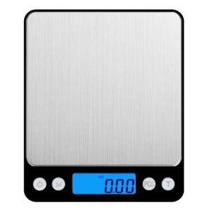 AMIR Digital Kitchen Scale, 3000g 0.01oz/ 0.1g Pocket Cooking Scale, Mini Food Scale, Pro Jewelry Scale with Back-Lit LCD Display, Tare & PCS Functions, Stainless Steel, Batteries Included (Black)