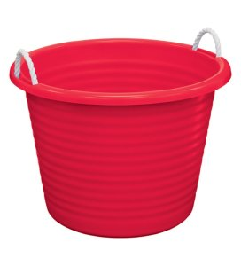 United Solutions TU0095 Red Seventeen Gallon Tub with Rope Handles - 17 Gallon Rope Handle Rough and Rugged Tub in Red
