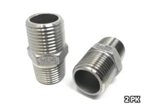 """CONCORD 304 Stainless Steel 1/2"""" NPT to 1/2"""" NPT Hex Nipple Home Brew. 2 Pack"""