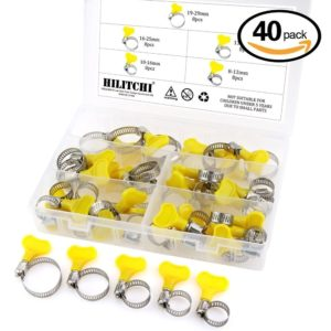 Hilitchi 40 Piece 8-29mm Key-Type Adjustable Hose Clamp Assortment Kit
