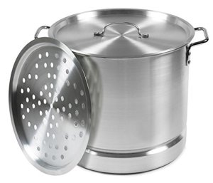 IMUSA USA MEXICANA-30 Aluminum Tamale and Steamer Steamer Pot 32-Quart, Silver