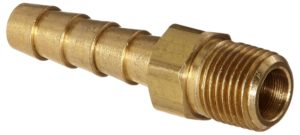 "Anderson Metals 57001 Brass Hose Fitting, Adapter, 1/4"" Barb x 1/8"" NPT Male Pipe"