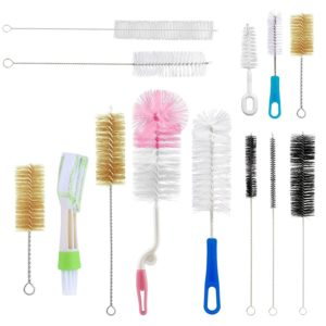 Yoassi 13Pc Food Grade Multipurpose Cleaning Brush Set, Includes Straw Brush|Nipple Cleaner|Bottle Brush|Blind Duster|Pipe Cleaner, Small,Long,Soft,Stiff Kit for Baby Bottles,Tubes,Jars,Bird Feeder
