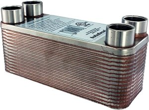 "Duda Energy HX1230:F34 B3-12A 30 Plate Stainless Steel Heat Exchanger with 3/4"" Female NPT Ports Copper Brazed, 2.9"" Height, 2.9"" Width, 7.5"" Length"