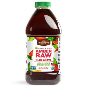 Madhava Naturally Sweet Organic Blue Agave Low-Glycemic Sweetener, Amber Raw, 46 Ounce