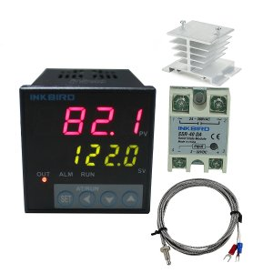 Inkbird F Display PID Temperature Controllers Thermostat ITC-106VH, K Sensor, Heat Sink and Solid State Relay, 100ACV - 240ACV (ITC-106VH + 40A SSR + White heat sink + K Probe)