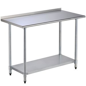 SUNCOO Commercial Stainless Steel Work Food Prep Table (48 in Long x 24 in Deep W/Backsplash)