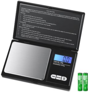 AMIR Digital Mini Scale, 100g 0.01g/0.001oz Pocket Jewelry Scale, Electronic Smart Scale with 7 Units, LCD Backlit Display, Tare Function, Auto Off, Stainless Steel & Slim Design (Battery Included)