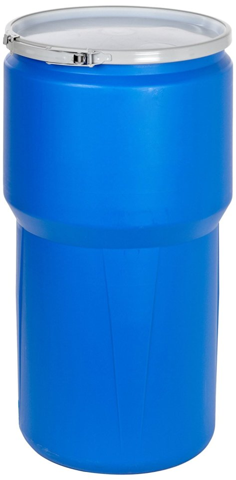 """Eagle 1610MB Blue High Density Polyethylene Lab Pack Drum with Metal Lever-lock Lid, 14 gallon Capacity, 26.5"""" Height, 15"""" Diameter"""