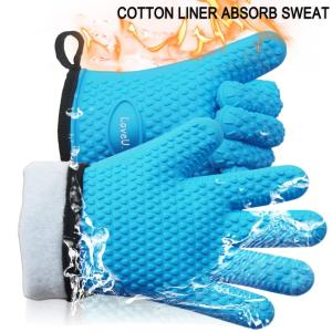 Loveuing Gloves-001 Oven Gloves-Silicone and Cotton Double-Layer Heat Resistant, One Size Fits Most, Blue