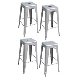 AmeriHome Metal Bar Stool Set, 30-Inch, Silver, Set of 4