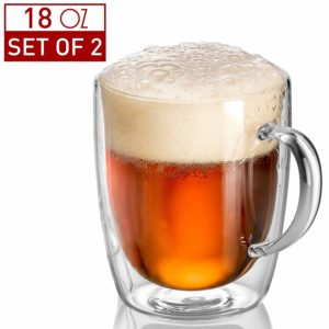 Pint Glasses - Double Wall Glass - Beer Mugs for Freezer - Dishwasher Safe - 18 oz (Set of 2)