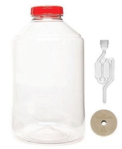 FerMonster XL Plastic 7 Gallon 26 L PET Wide Mouth Carboy with Stopper & Airlock