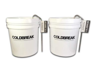 Coldbreak Brewing Equipment 2BUCKT 6.5 gal Fermenting Bucket with Grommeted Lid and Stainless Steel Blow Off Tube, (2 Pack)
