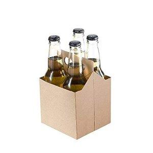 4 Pack Cardboard Beer Bottle Carrier For 12 Ounce Bottles (Pack of 50) (Kraft)